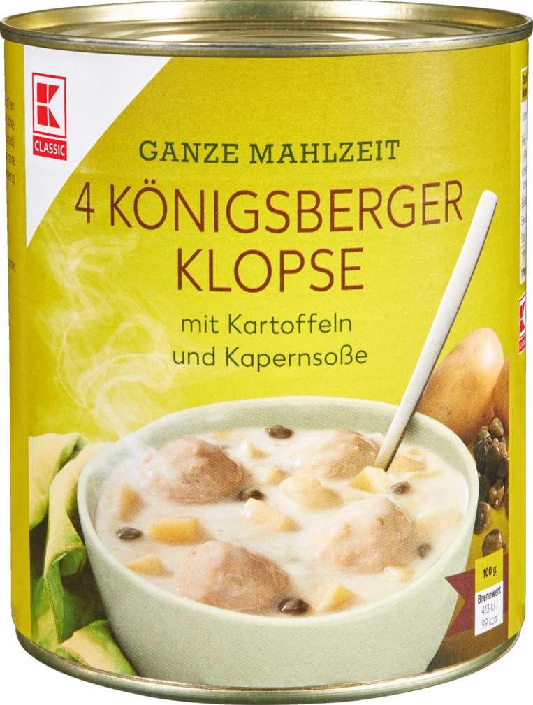 Abbildung des Sortimentsartikels K-Classic Königsberger Klopse Kartoffeln/Kapern 800g Dose