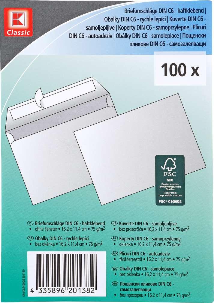 Abbildung des Sortimentsartikels K-Classic Briefumschlag C6 100 Stück