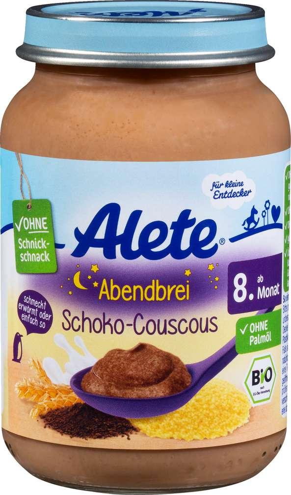 Abbildung des Sortimentsartikels Alete Abendbrei Schoko-Couscous ab dem 8. Monat 190g