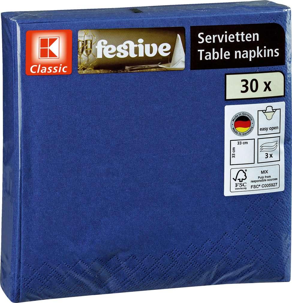Abbildung des Sortimentsartikels K-Classic Servietten blau 30 Stück