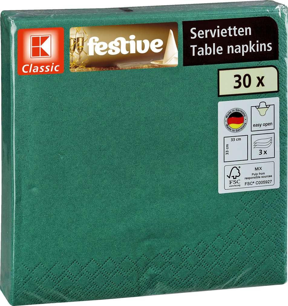 Abbildung des Sortimentsartikels K-Classic festive Servietten Table napkinks 30 Stück grün