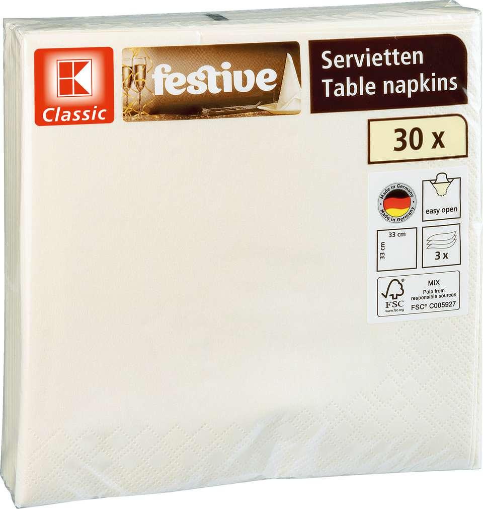 Abbildung des Sortimentsartikels K-Classic Servietten creme 30 Stück