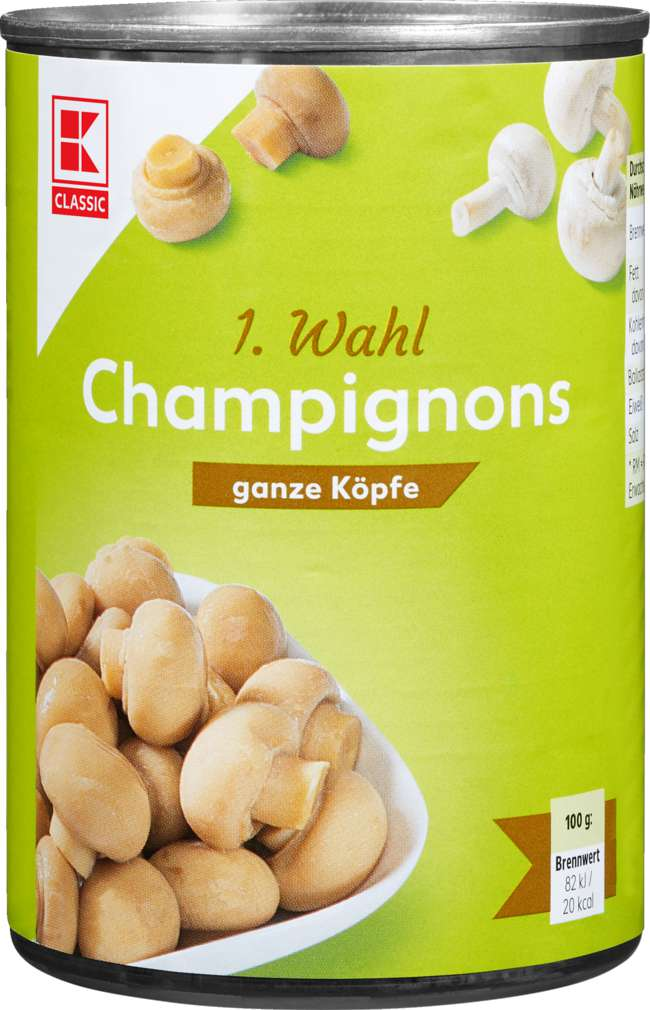 Abbildung des Sortimentsartikels K-Classic Champignons 1.Wahl ganze Köpfe 425ml