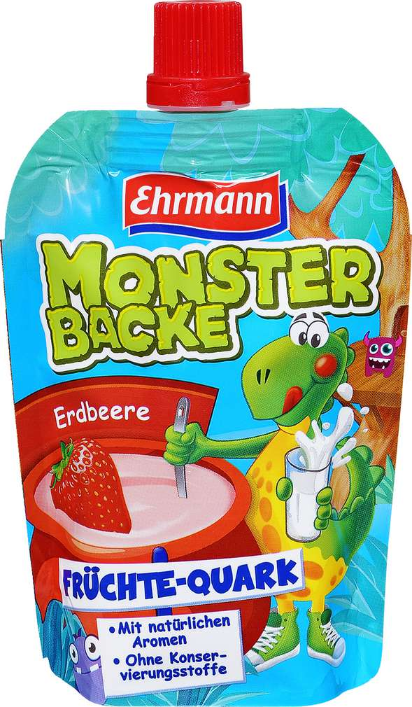 Abbildung des Sortimentsartikels Ehrmann Monsterbacke Quetschi Erdbeer 90g