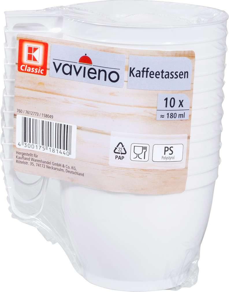 Abbildung des Sortimentsartikels K-Classic Kaffeetassen Kunststoff weiß 10 Stück