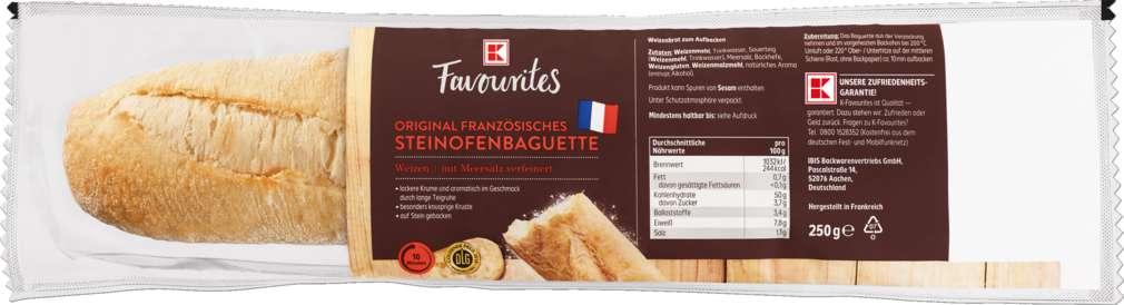 Abbildung des Sortimentsartikels K-Favourites Steinofenbaguette Weizen 250g