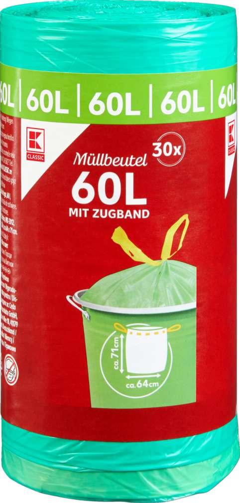 Abbildung des Sortimentsartikels K-Classic Müllbeutel mit Zugband 60l