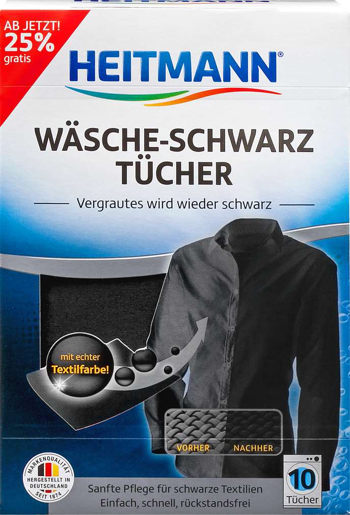 Abbildung des Sortimentsartikels Heitmann Wäsche-Schwarz Tücher 10 Stück