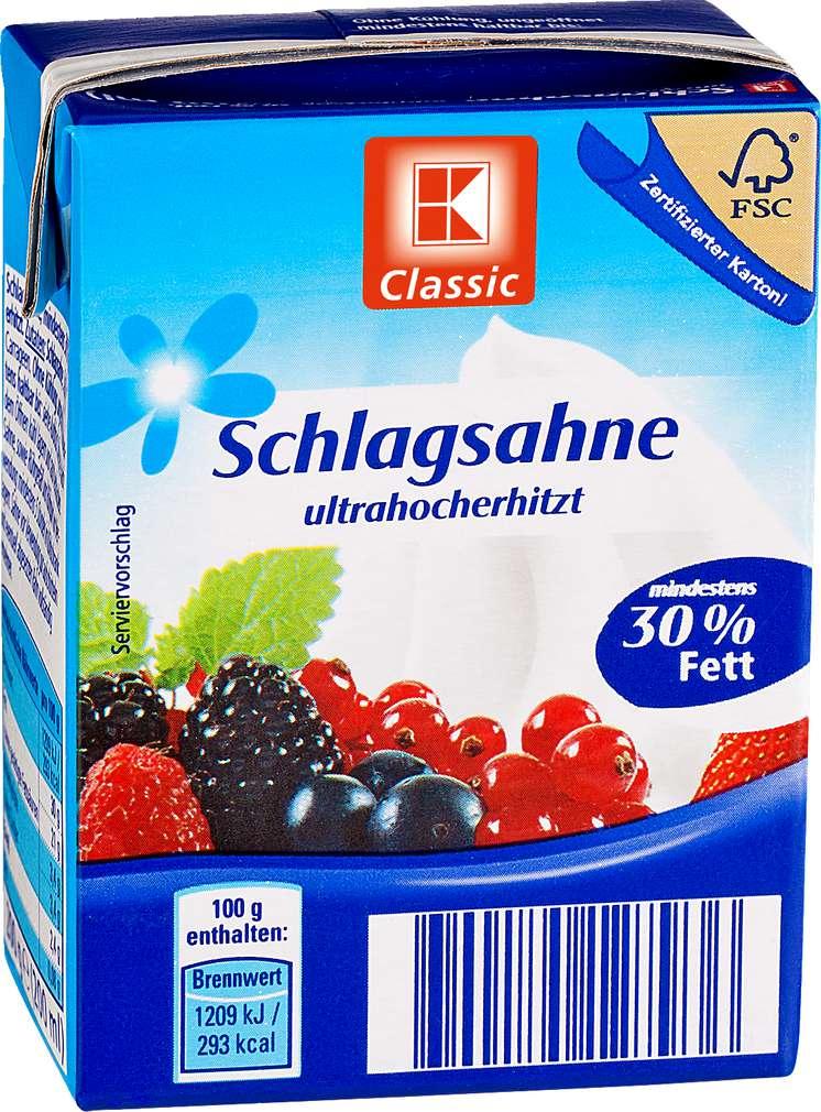 Abbildung des Sortimentsartikels K-Classic Schlagsahne 30% Fett 200g