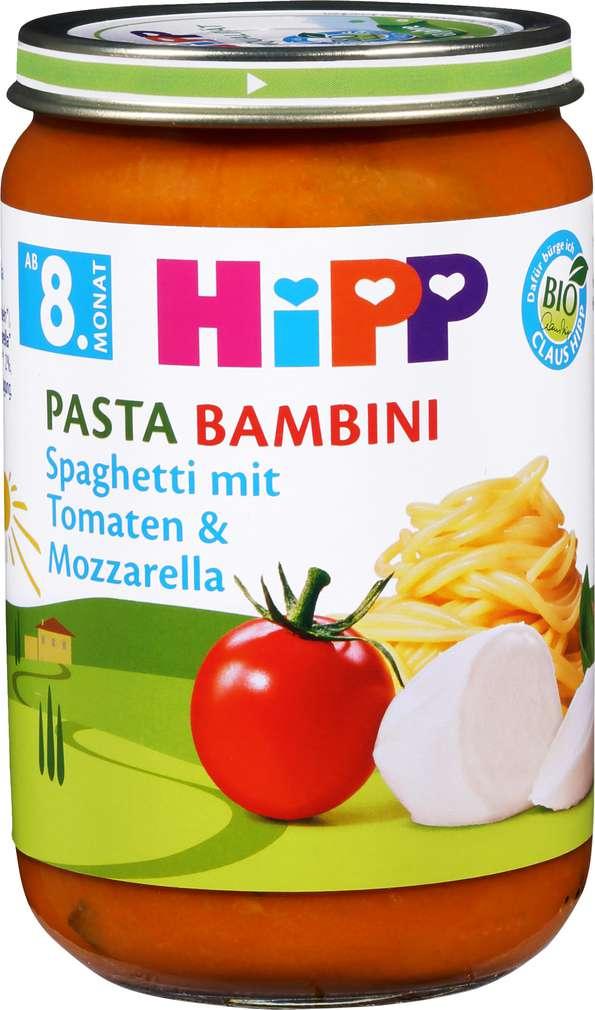 Abbildung des Sortimentsartikels Hipp Pasta Bambini Spaghetti mit Tomaten & Mozzarella 220g