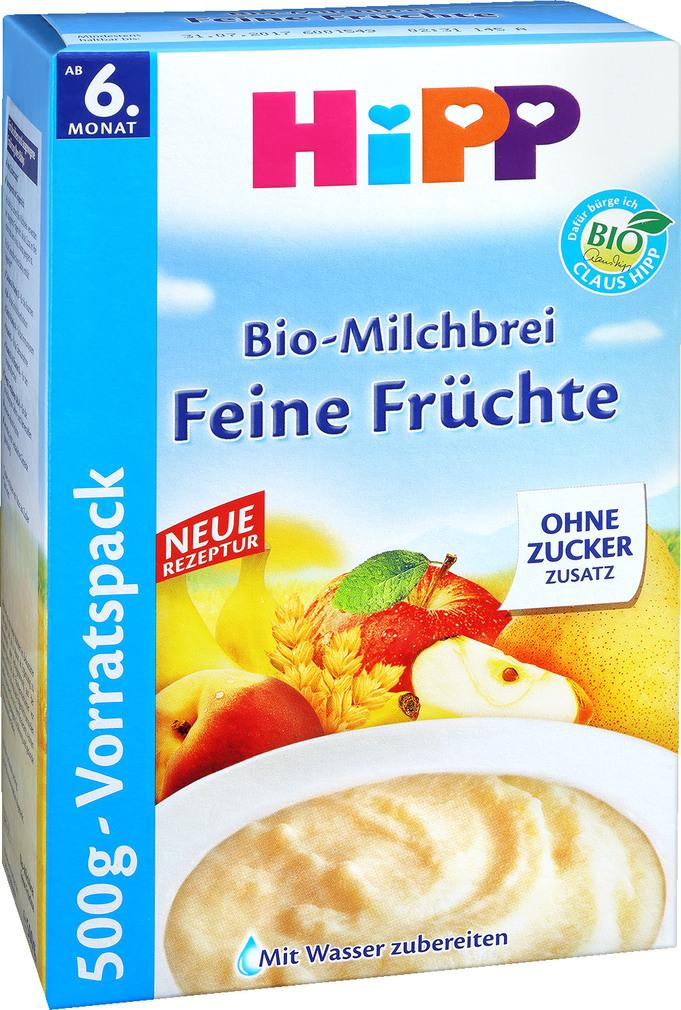 Abbildung des Sortimentsartikels Hipp Bio-Milchbrei Feine Früchte 500g