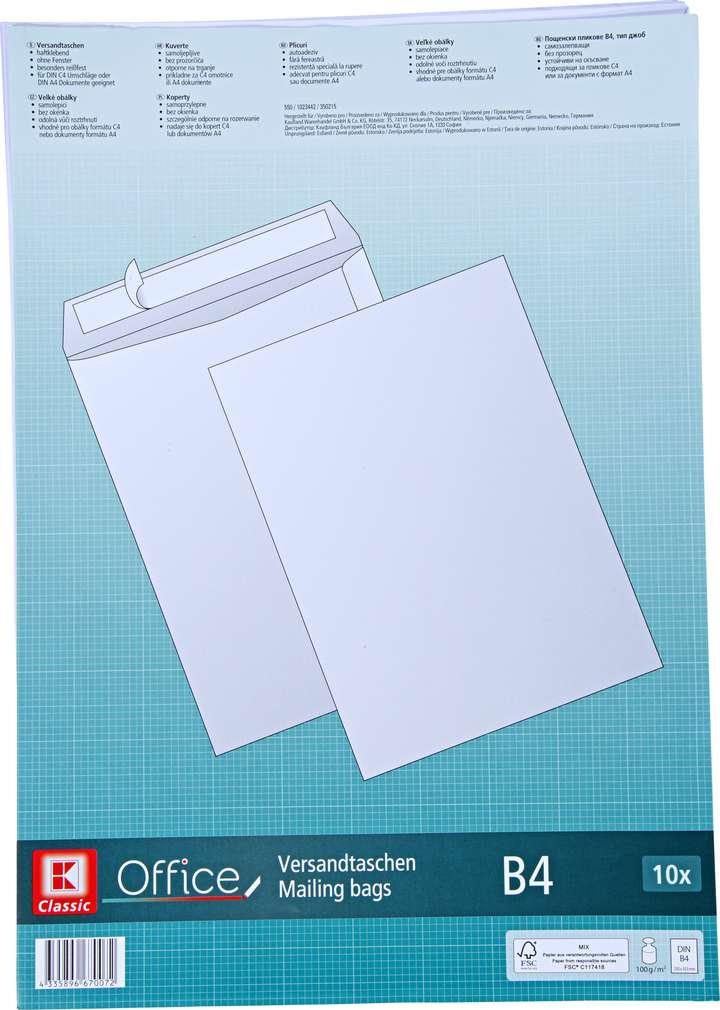 Abbildung des Sortimentsartikels K-Classic Versandtaschen B4 weiß 10 Stück