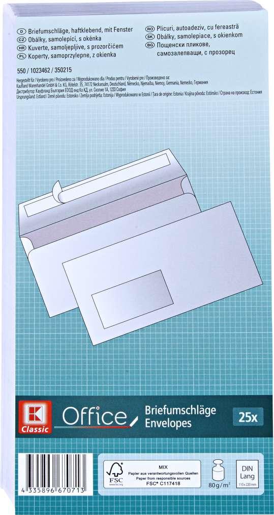 Abbildung des Sortimentsartikels K-Classic Briefumschläge mit Fenster 25 Stück