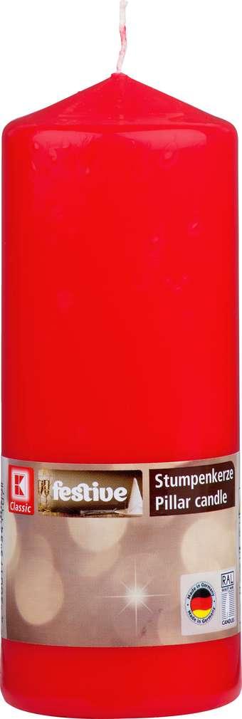Abbildung des Sortimentsartikels K-Classic Edelstumpenkerze rot 16x6cm