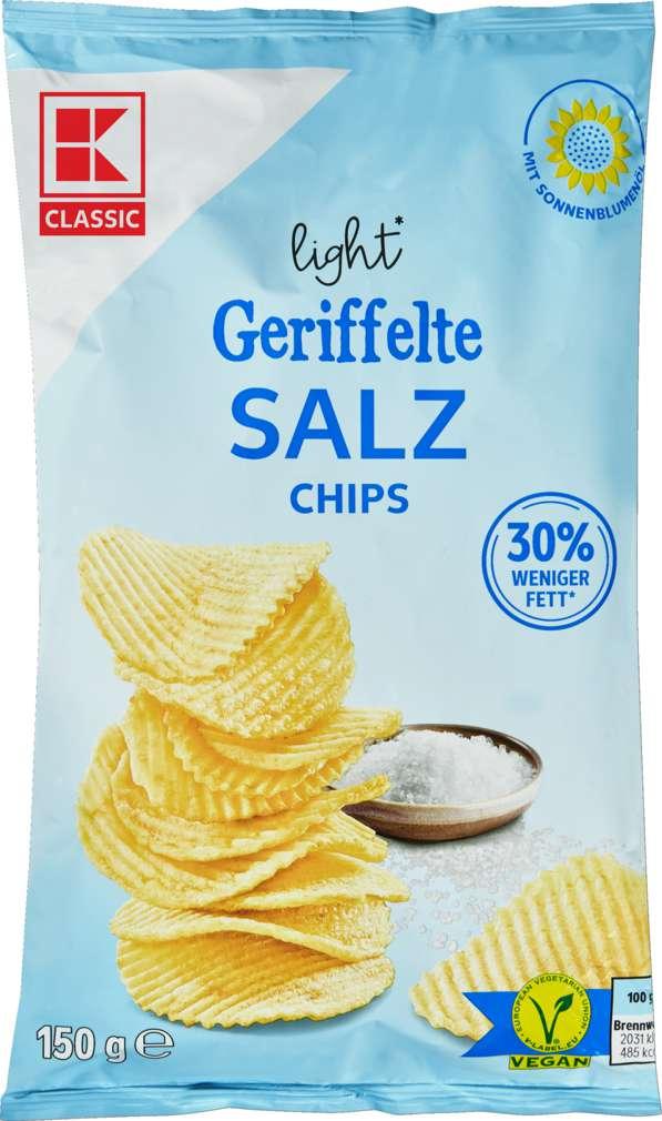 Abbildung des Sortimentsartikels K-Classic Riffelchips light Salz 150g
