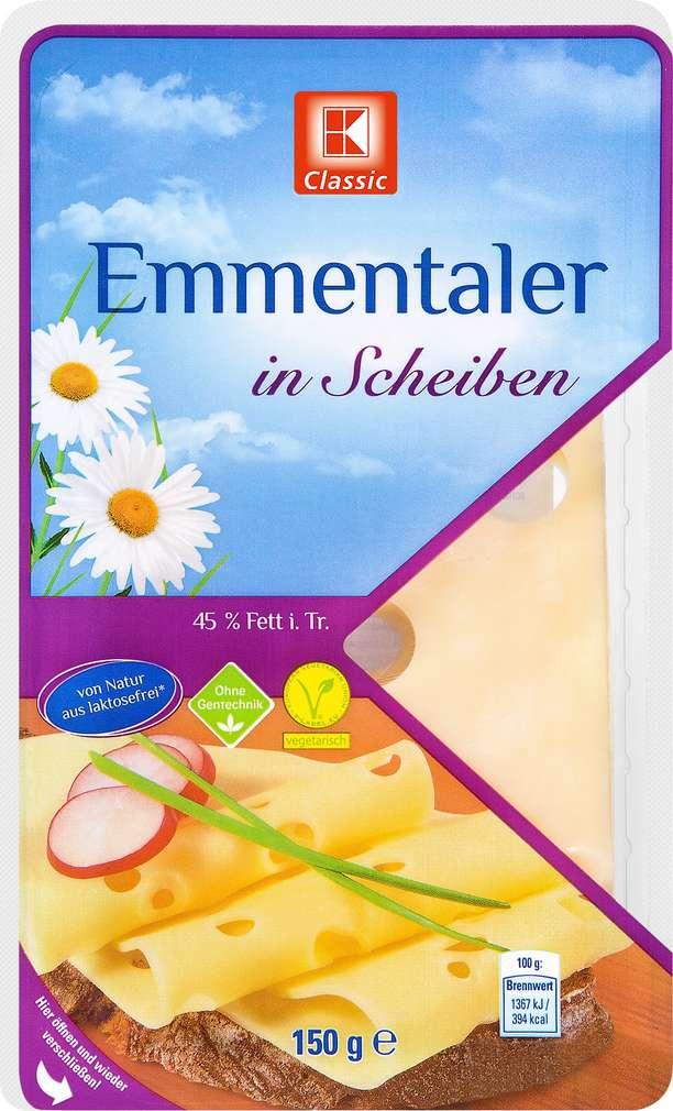 Abbildung des Sortimentsartikels K-Classic Emmentaler in Scheiben 150g