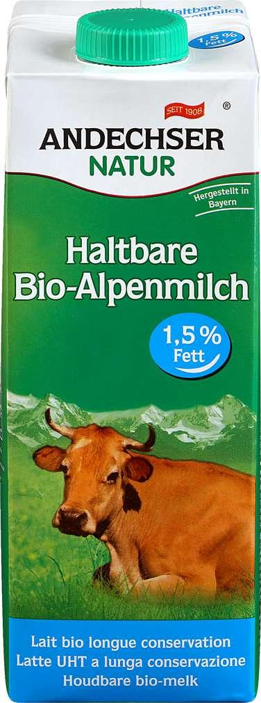 Abbildung des Sortimentsartikels Andechser Natur Bio Alpenmilch 1,5% 1l