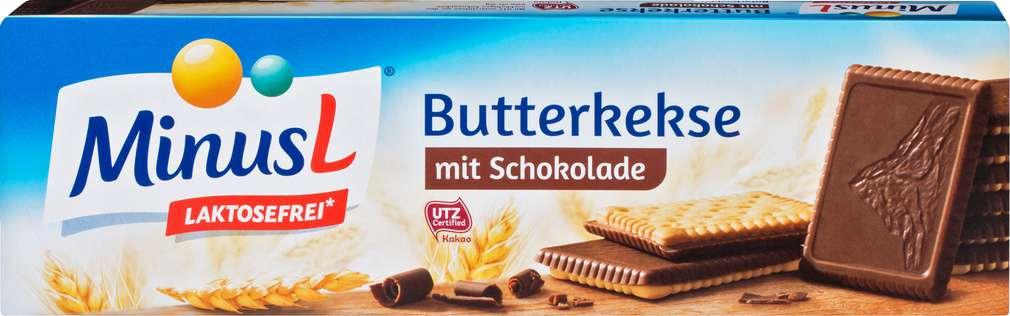Abbildung des Sortimentsartikels MinusL Butterkeks mit Schokolade 125g