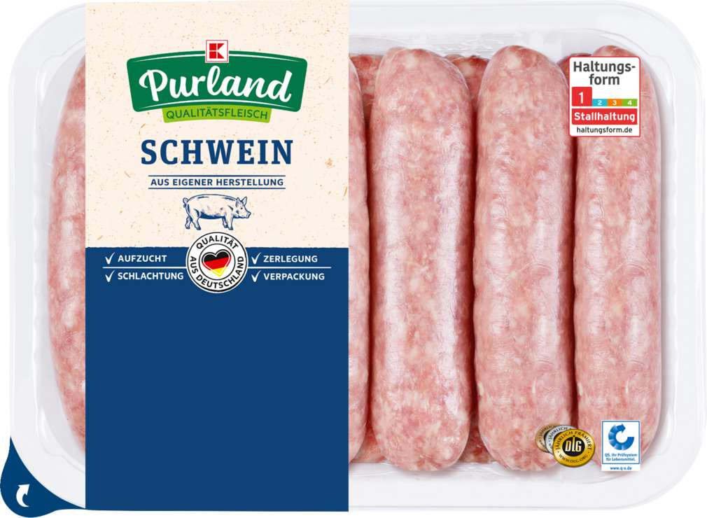 Abbildung des Sortimentsartikels K-Purland XXL-Grobe Bratwurst, roh, zum Braten/Grillen 12 Stück 1200g