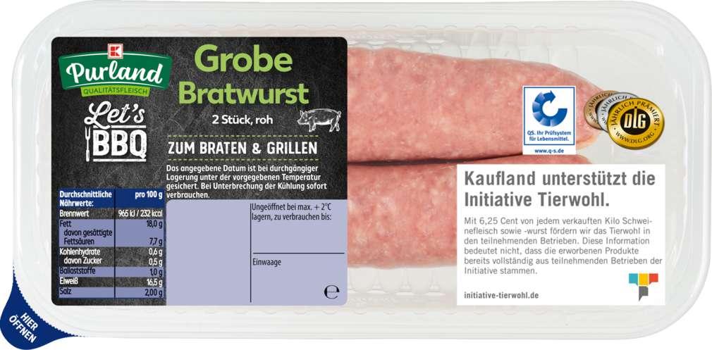 Abbildung des Sortimentsartikels K-Purland Grobe Bratwurst 2 Stück 200g