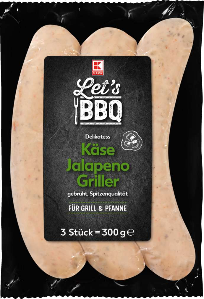 Abbildung des Sortimentsartikels K-Classic Käse Jalapeno Bratwurst 3x100g