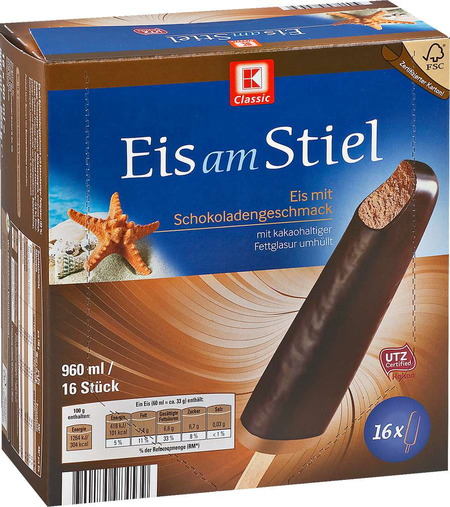 Abbildung des Sortimentsartikels K-Classic Eis am Stiel Schokolade 960ml, 16 Stück