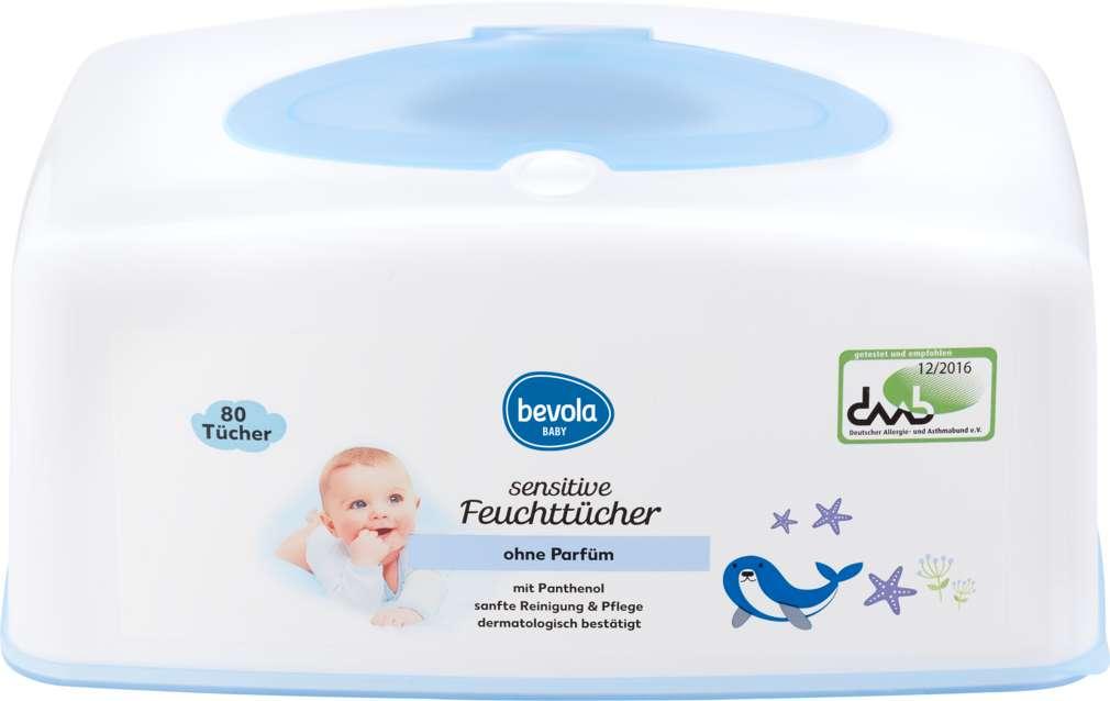 Abbildung des Sortimentsartikels Bevola Baby Feuchttücher Sensitive Box 80 Stück