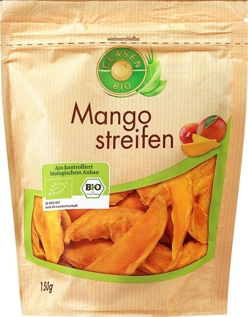 Abbildung des Sortimentsartikels Clasen Bio Mangostreifen vegan 150g