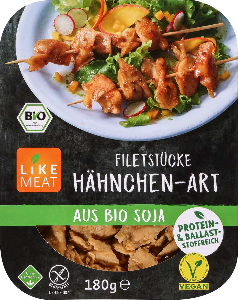 Abbildung des Sortimentsartikels Like Meat Soja Filetstücke Hähnchen-Art 180g