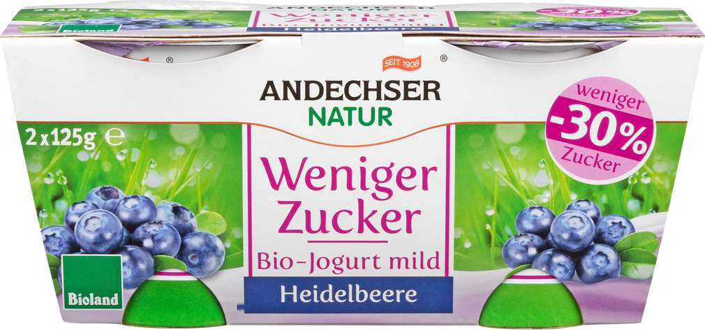 Abbildung des Sortimentsartikels Andechser Bio-Jogurt weniger Zucker Heidelbeere, 3,8 % 2x125g