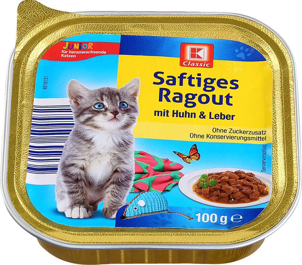 Abbildung des Sortimentsartikels K-Classic Katzennahrung Huhn+Leber 100g