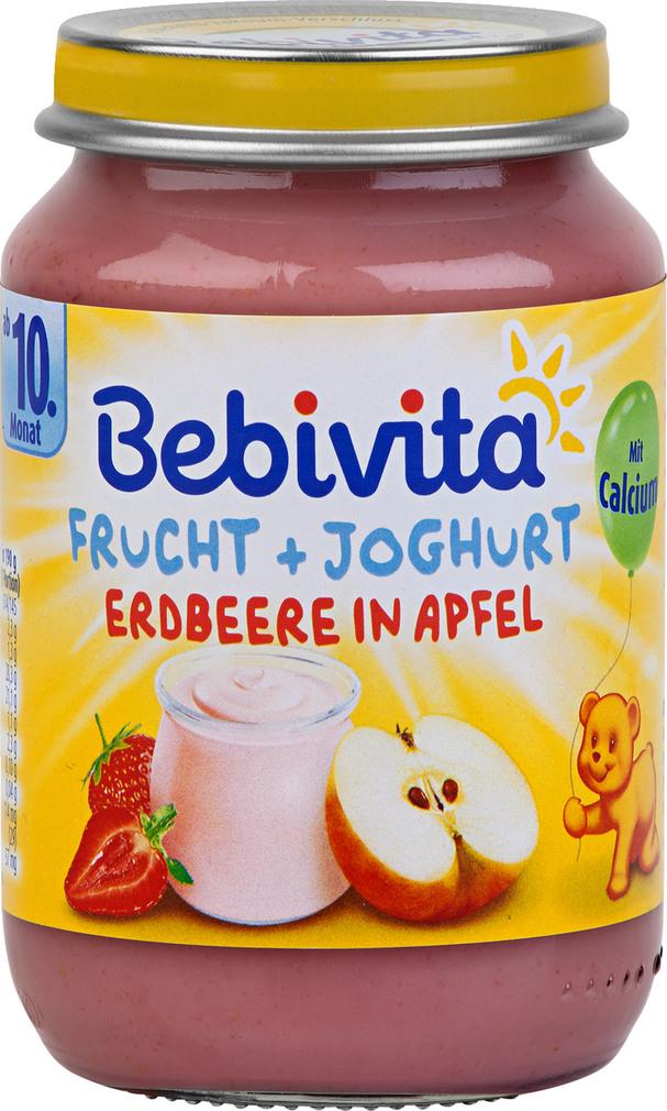 Abbildung des Sortimentsartikels Bebivita Frucht & Joghurt Erdbeere in Apfel 190g