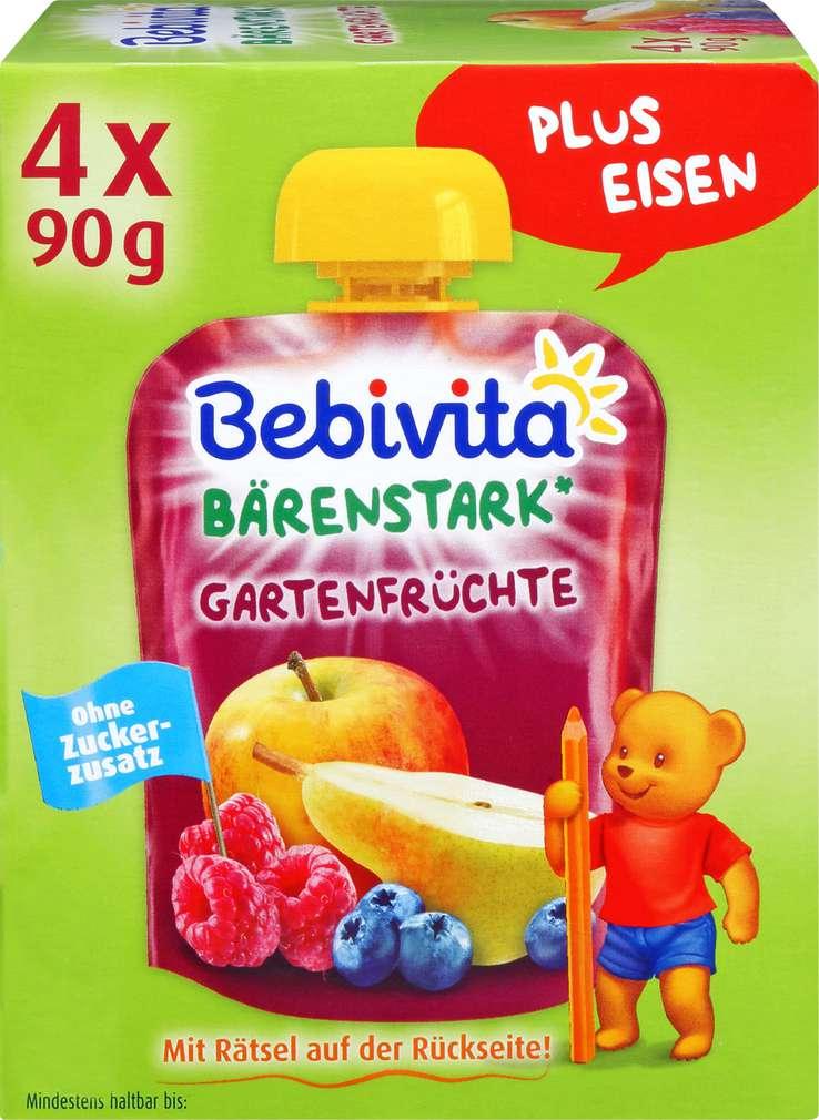 Abbildung des Sortimentsartikels Bebivita Kinder Spaß Gartenfrüchte 4x90g