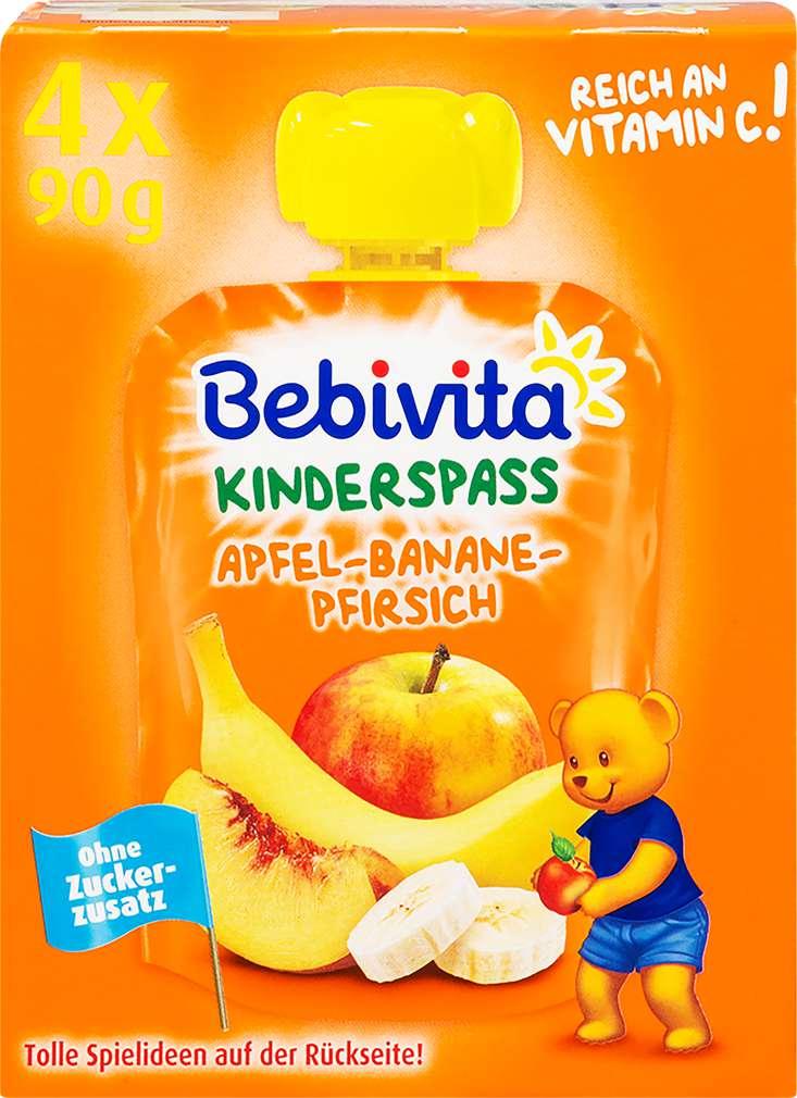 Abbildung des Sortimentsartikels Bebivita Kinder Spaß Apfel-Banane-Pfirsich 4x90g