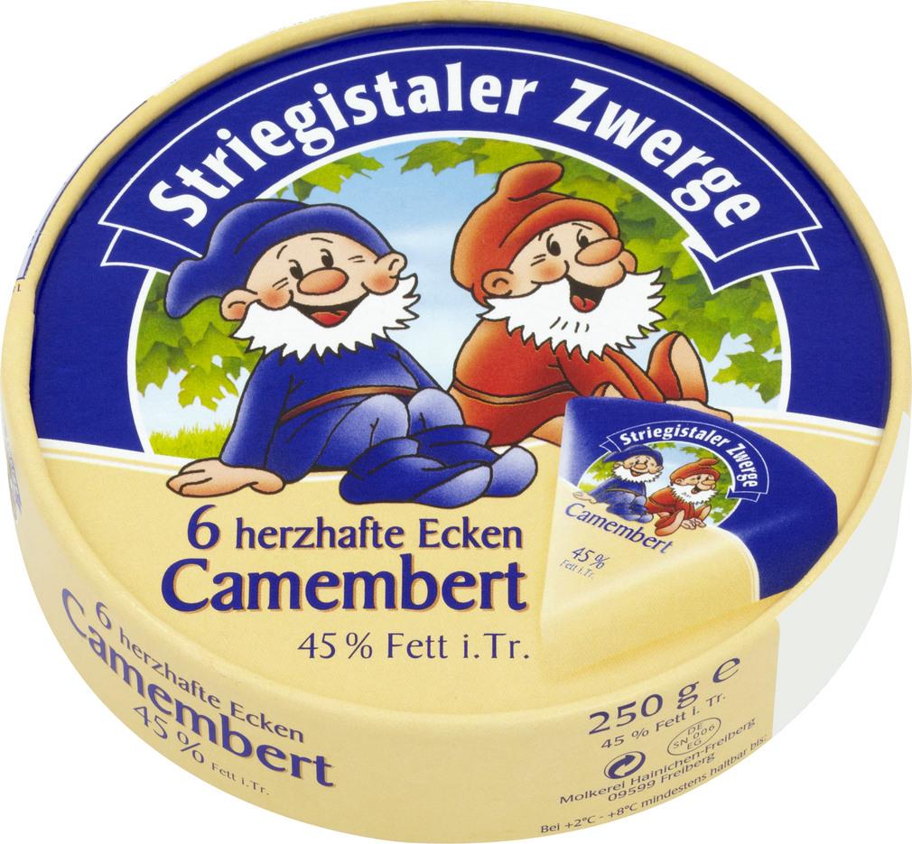 Abbildung des Sortimentsartikels Striegistaler Zwerge Camembert 6 herzhafte Ecken, 250g