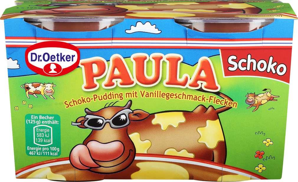 Abbildung des Sortimentsartikels Dr. Oetker Paula Schoko-Pudding mit Vanillegeschmack-Flecken