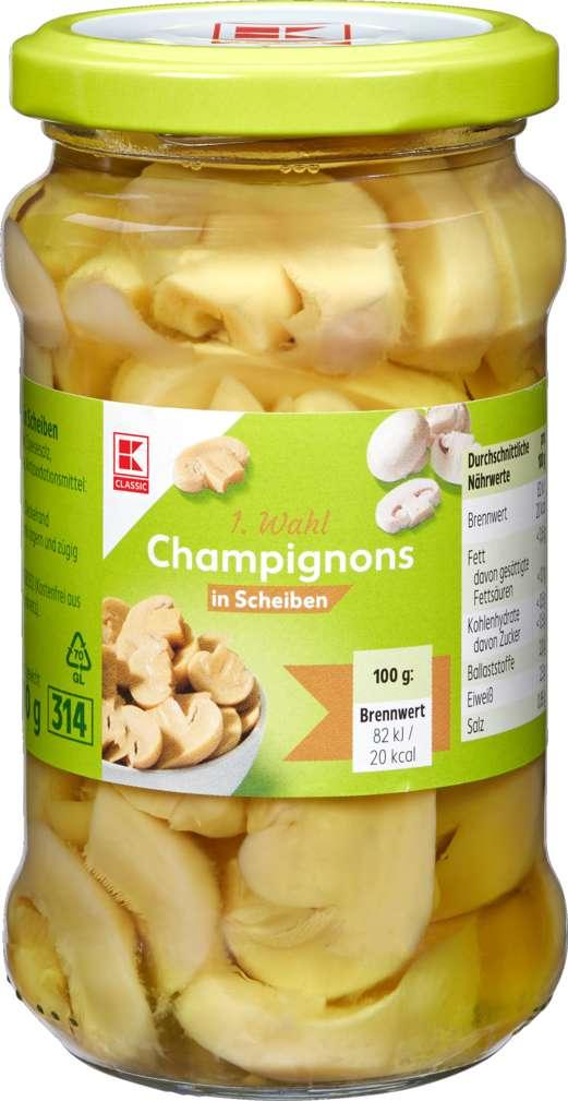Abbildung des Sortimentsartikels K-Classic Champignons 1. Wahl in Scheiben 280g