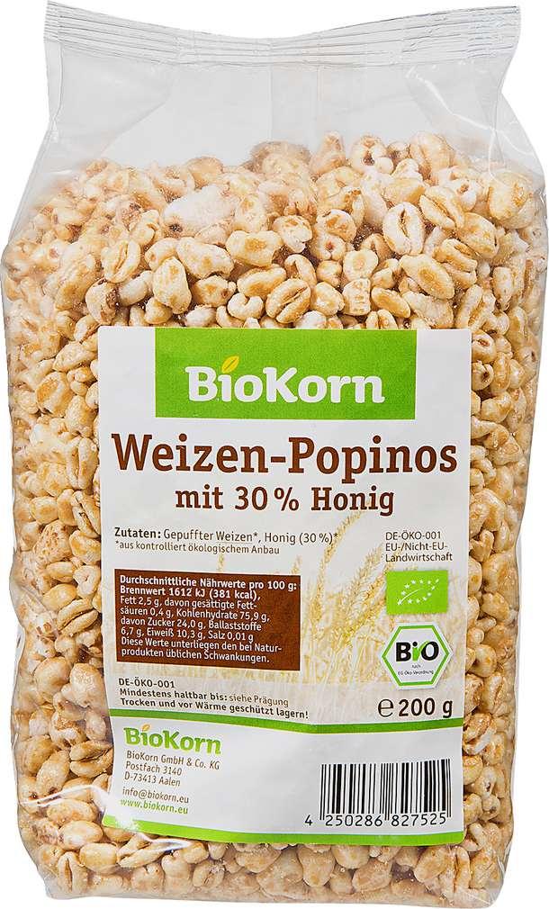 Abbildung des Sortimentsartikels BioKorn Weizen-Popinos mit 30% Honig 200g