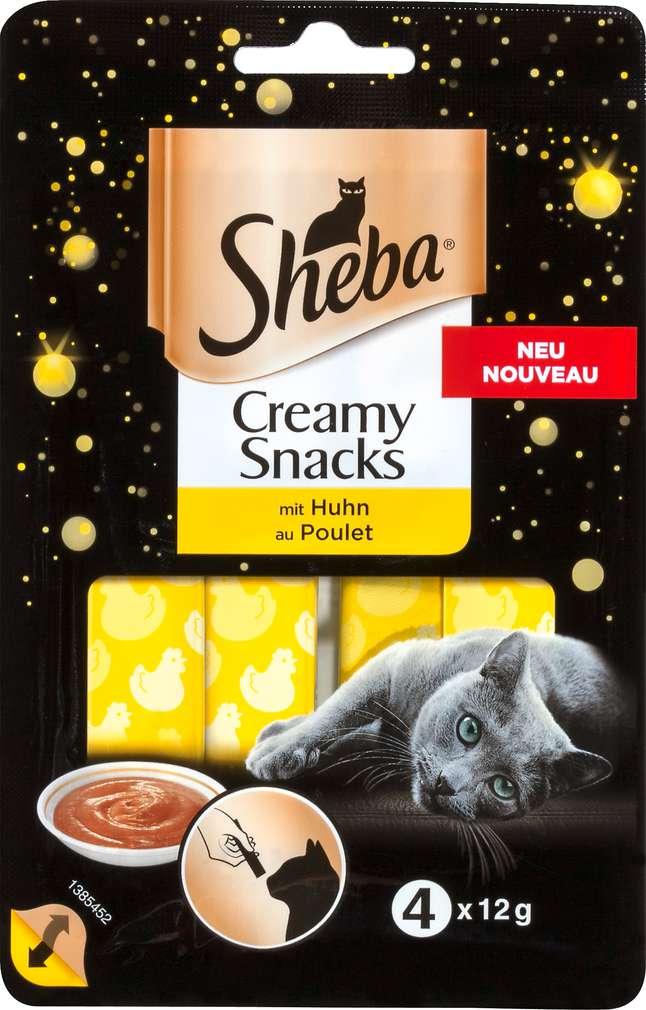 Abbildung des Sortimentsartikels Sheba Creamy Snacks mit Huhn 4x12g