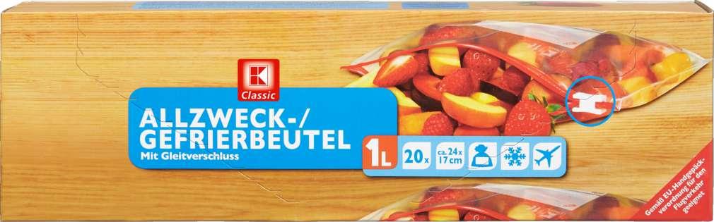Abbildung des Sortimentsartikels K-Classic Gefrierbeutel mit Zip 1 Liter 20 Stück