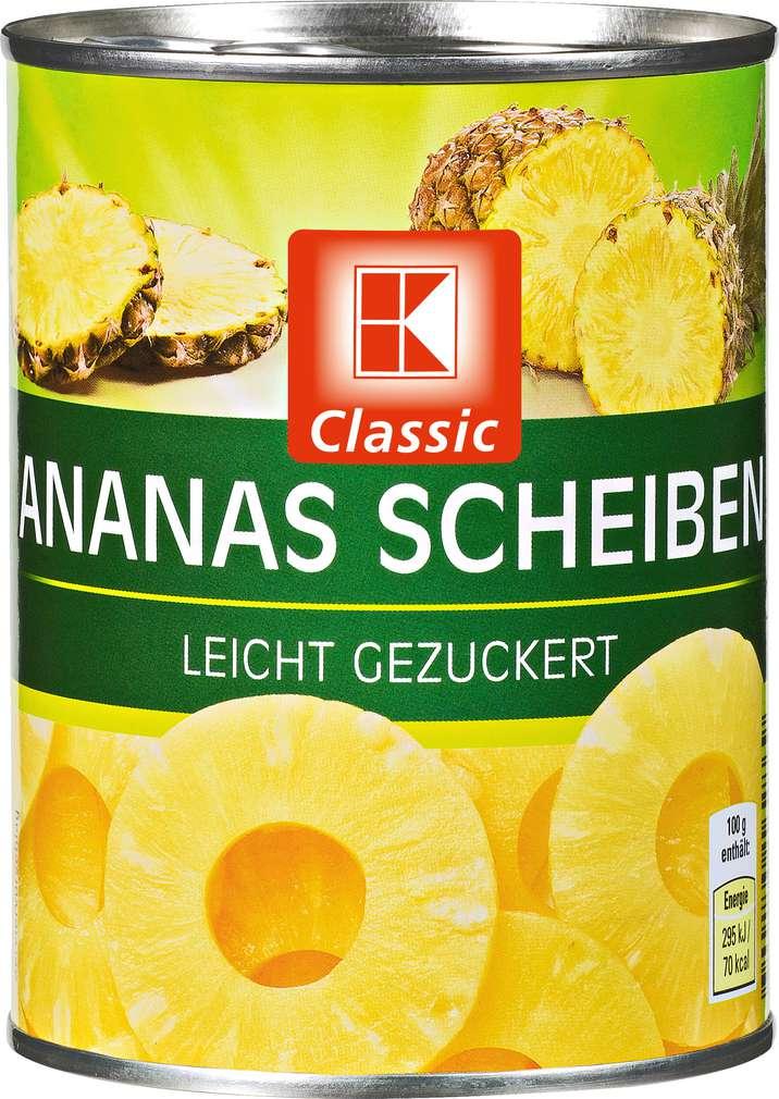 Abbildung des Sortimentsartikels K-Classic Ananas Scheiben 580ml