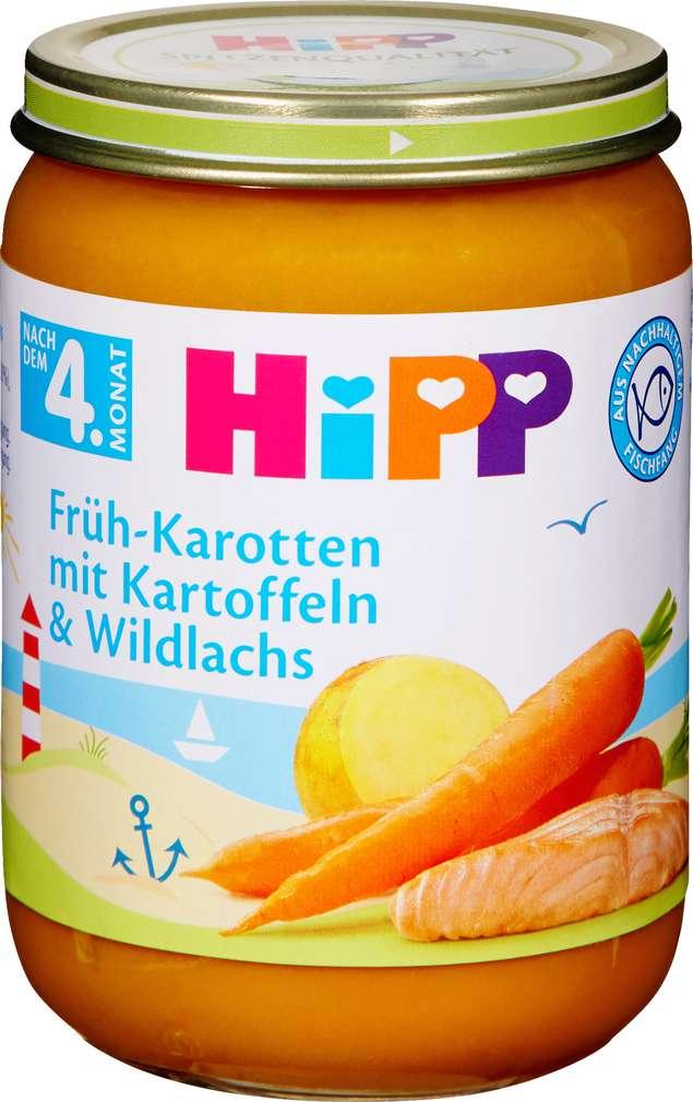Abbildung des Sortimentsartikels Hipp Früh-Karotten mit Kartoffeln und Wildlachs 190g