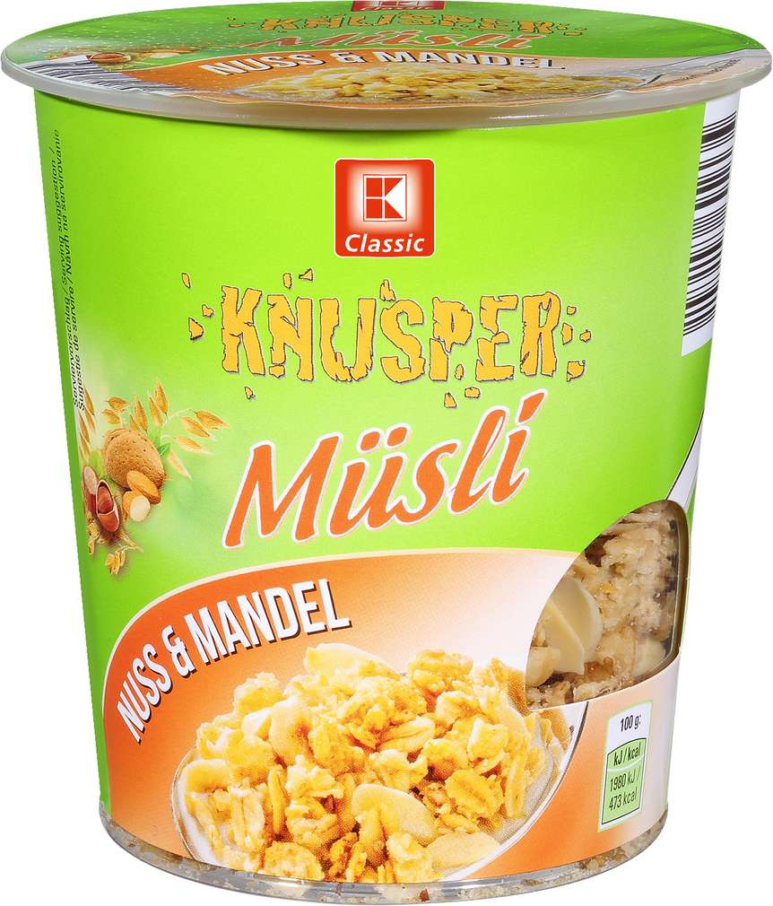 Abbildung des Sortimentsartikels K-Classic Knusper Müsli Becher Nuss & Mandel 85g
