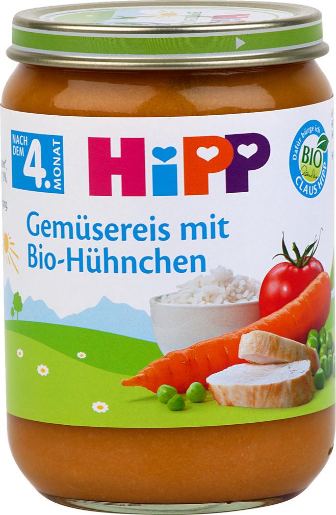 Abbildung des Sortimentsartikels Hipp Gemüsereis mit Bio-Hühnchen 190g