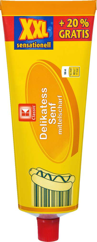 Abbildung des Sortimentsartikels K-Classic Delikates Senf mittelscharf XXL 240ml + 20% gratis
