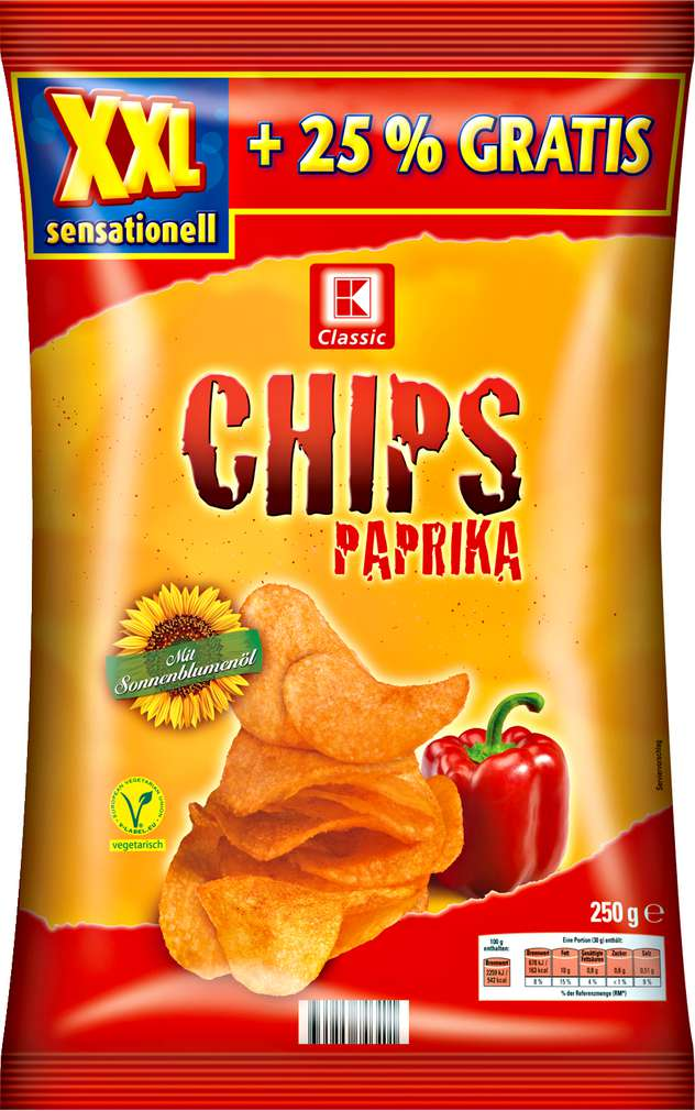Abbildung des Sortimentsartikels K-Classic Chips Paprika 250g