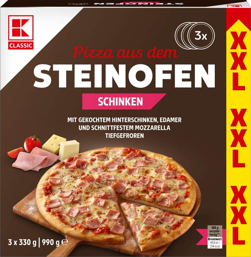 Abbildung des Sortimentsartikels K-Classic Steinofenpizza Schinken 1050g, 3 Stück