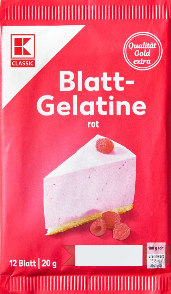 Abbildung des Sortimentsartikels K-Classic Blattgelatine rot 20g, 12 Blatt