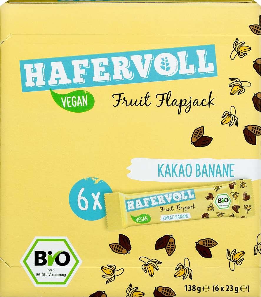Abbildung des Sortimentsartikels Hafervoll Bio Fruit Flapjack Kakao/Banane 6x23g