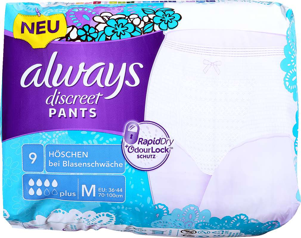 Abbildung des Sortimentsartikels Always Discreet Pants Medium Plus für Blasenschwäche 9 Stück